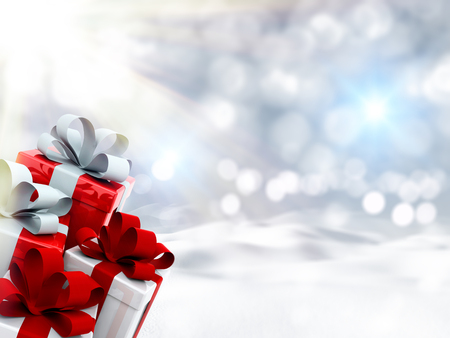 christmas gifts: 3D render of Christmas gifts in snowy landscape Stock Photo