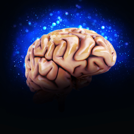 bio medicine: 3D render of a human brain with light effects