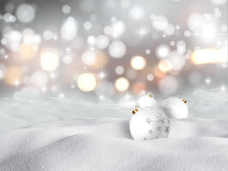 snow drifts: 3D render of Christmas baubles nestled in snow against a bokeh lights background