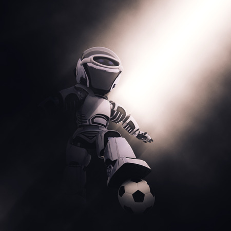 moody: 3D render of a robot with a soccer or football