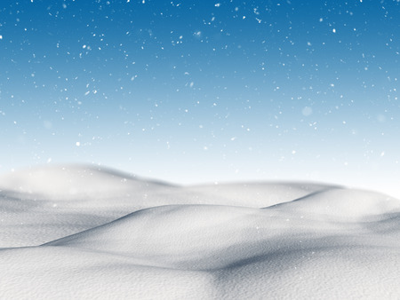 cloud drift: 3D render of a snowy landscape with falling snow