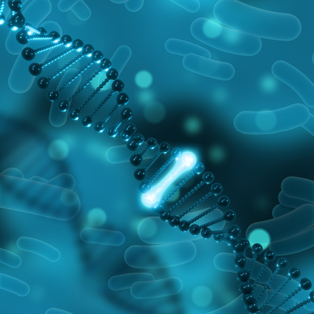 microcosmic: 3D medical background with DNA and one glowing strand