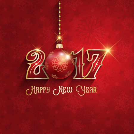 new year celebration: Happy New Year background with hanging bauble