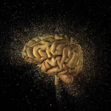 memory loss: 3D render of a brain with a glitter explosion effect