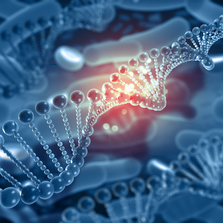 3D render of a medical background with DNA strands Stock Photo