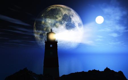 3D render van een silhouet vuurtoren tegen een maan aan de nachtelijke hemel