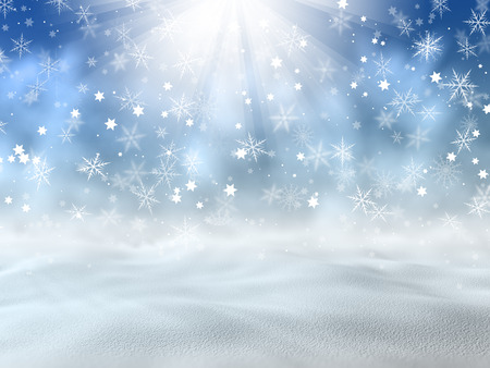 Christmas background of snow and stars