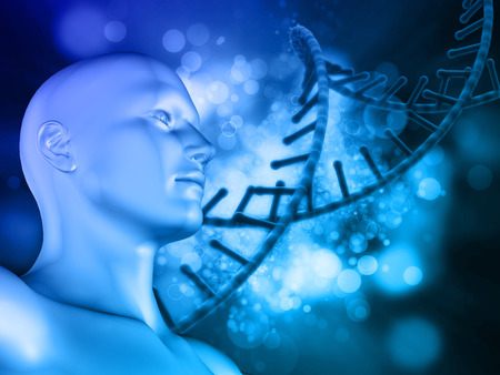 microcosmic: 3D Medical background with abstract DNA strand and male head