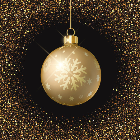 glittery: Christmas bauble on a gold glittery background