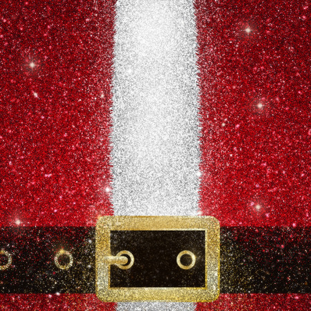 belt up: Glittery effect of a close up of the coat and belt of Santa Claus