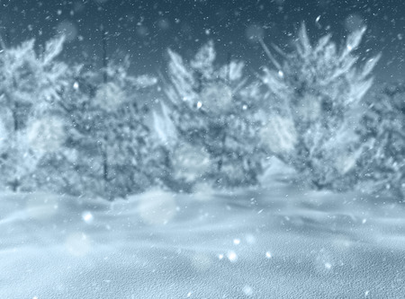 defocussed: 3D render of a defocussed snowy landscape Stock Photo