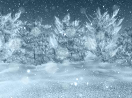 cloud drift: 3D render of a defocussed snowy landscape Stock Photo