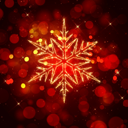 sparkly: Christmas background with bokeh lights and sparkly snowflake Stock Photo