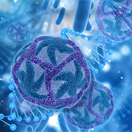 dna strands: 3D render of a medical background with DNA strands and Zika virus cells