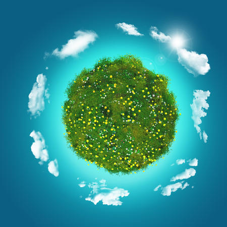 fluffy clouds: 3D render of a grassy globe with clouds on a blue sky background