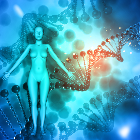3D render of a medical background with female figure on DNA strands