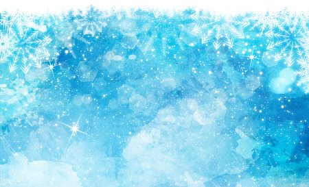 Christmas watercolor background with snowflakes, stars and bokeh lights