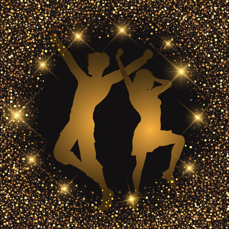 glittery: Silhouette of a dancing couple on a glittery background