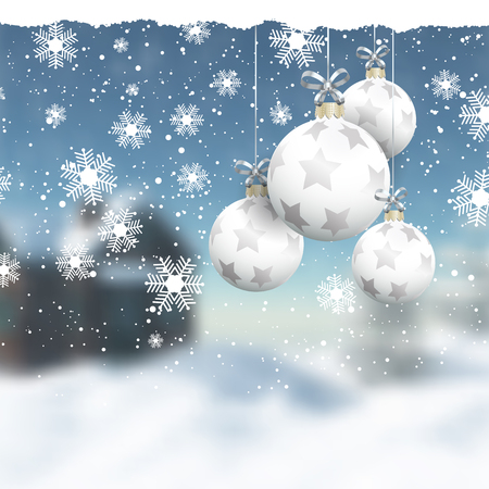 defocussed: Hanging Christmas baubles on a defocussed winter landscape Stock Photo