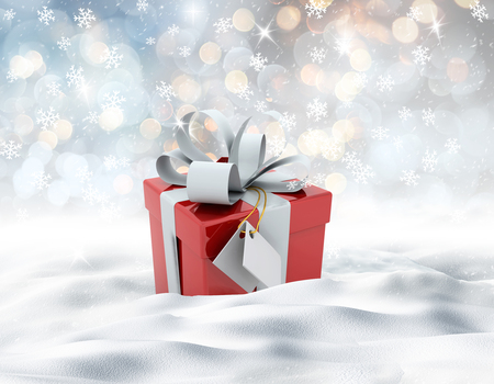 3D render of a snowy landscape with Christmas gift nestled in snow
