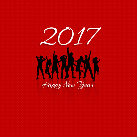 new year party: New Year party background with silhouettes of people dancing