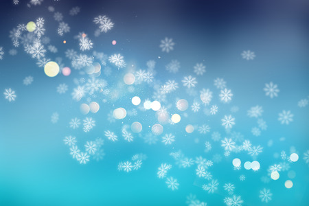 Christmas background of snowflakes and bokeh lights