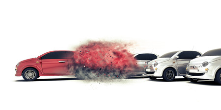 3D render of a generic car speeding away from others Stock fotó