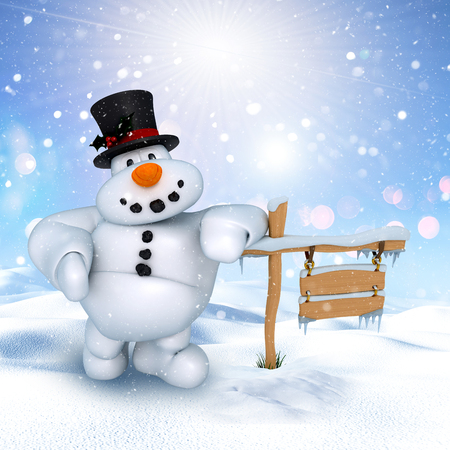 3D render of a cute snowman in a winter landscape Stock Photo