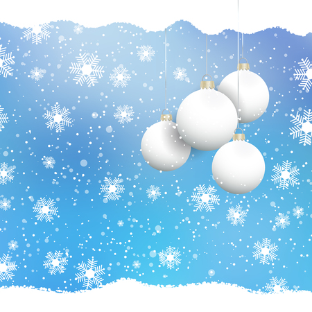 Christmas baubles on a snowflake background
