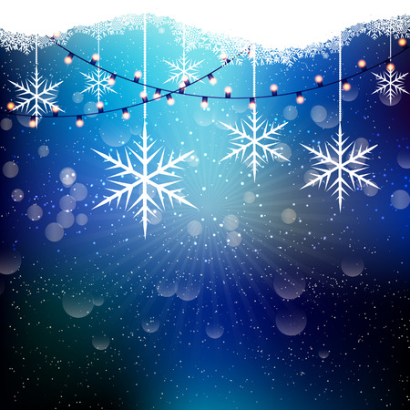 string lights: Christmas background with snowflakes and string lights Stock Photo