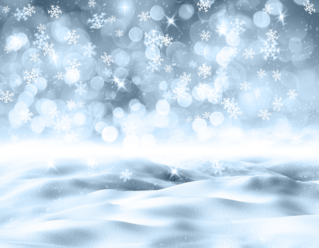glittery: 3D render of a snowy landscape with snowflakes Stock Photo