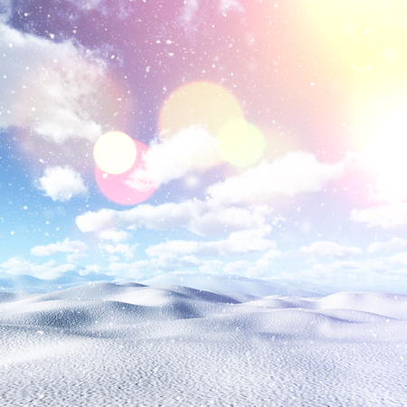 drifting: 3D render of a snowy landscape with vintage effect