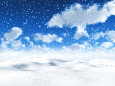 drifting: 3D snowy landscape with fluffy white clouds in a blue sky