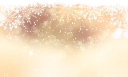 glittery: Gold Christmas background with snowflakes and bokeh lights Stock Photo