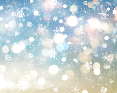 gold stars: Christmas background of snowflakes, stars and bokeh lights