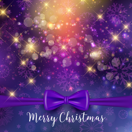 purple ribbon: Christmas background with purple ribbon