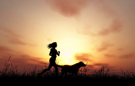 dog run: 3D render of a female and dog jogging against a sunset sky Stock Photo