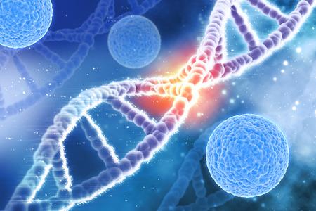 dna strands: 3D medical background with virus cells and DNA strands
