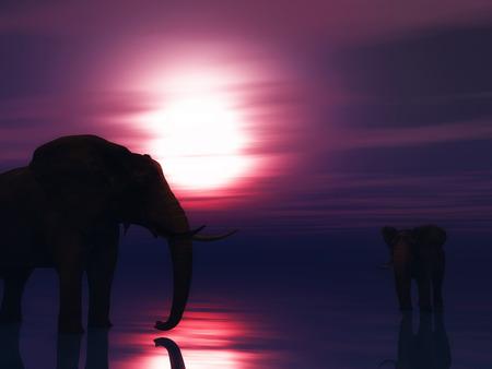sunset sky: 3D render of elephants in ocean against a sunset sky