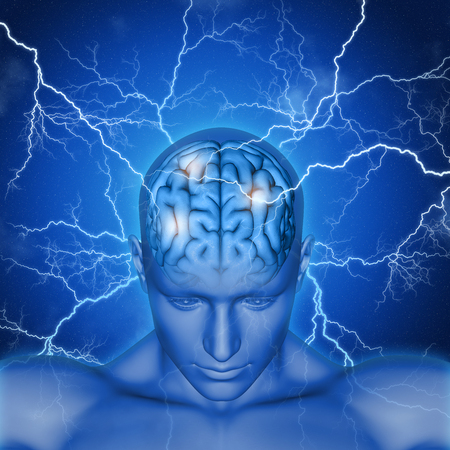 brainy: 3D render of a male head and brain with lightening bolts