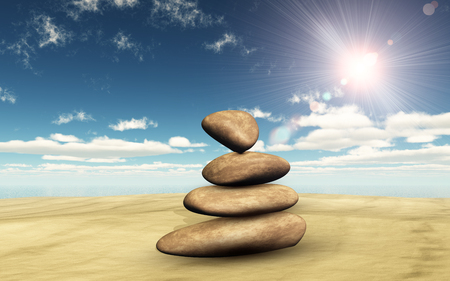 3D render of balancing pebbles on sand against a sunny sky