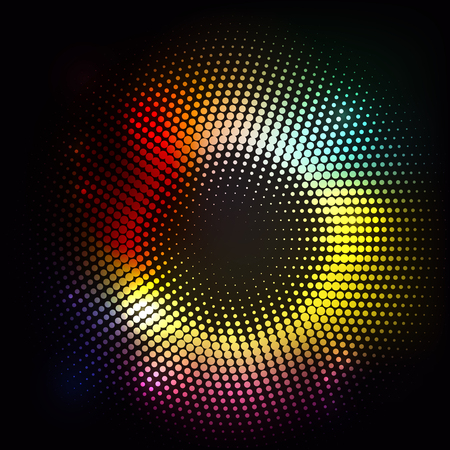 dynamic movement: Abstract background of lights and halftone dots