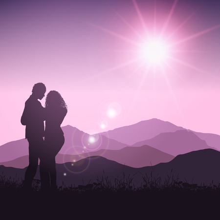 couple in summer: Silhouette of a Valentines couple in grassy sunset landscape Stock Photo