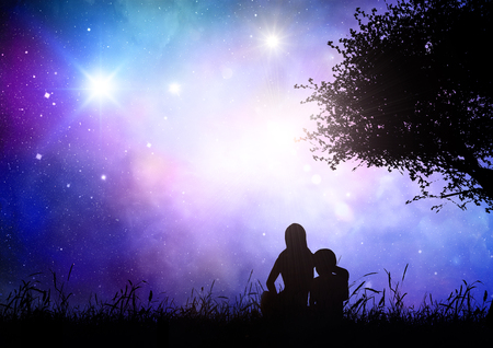 stars night: 3D render of a mother and son sat in grass against a space sky