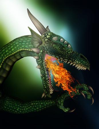 Render 3D de un dragón de fantasía de respiración de fuego Foto de archivo