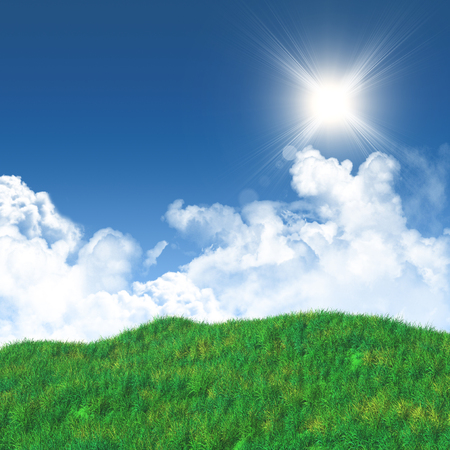 sky sun: 3D render of a grassy landscape against a blue sky with fluffy white clouds