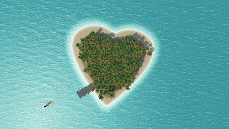 3D render of a heart shaped tropical island with boat speeding towards it Stock fotó