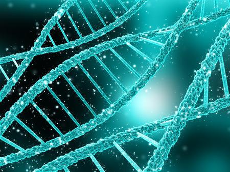 dna strands: 3D render of a medical background with DNA strands Stock Photo
