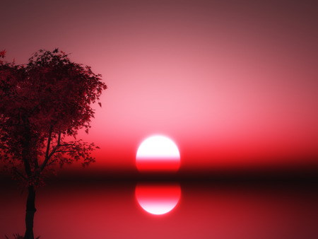 3D render of a Japanese maple tree in the ocean against a sunset sky