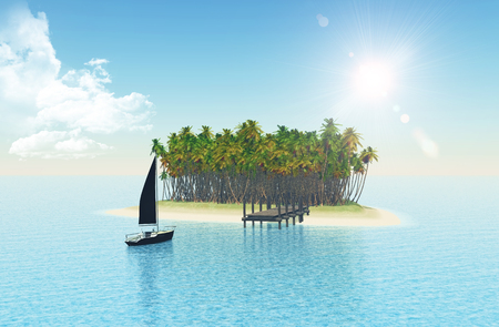 jetty: 3D render of a yacht sailing to a tropical island with jetty Stock Photo